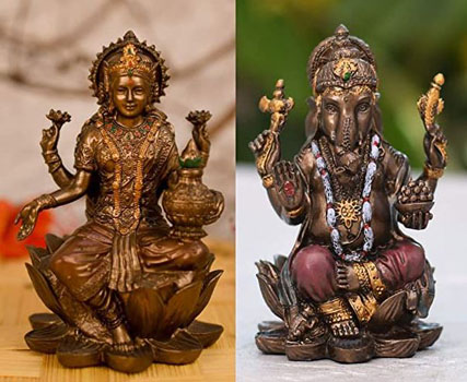 Collectible India Polyresin Crafted Pair of Lakshmi Ganesha
