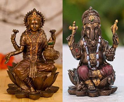 Collectible India Polyresin Crafted Pair of Lakshmi Ganesha